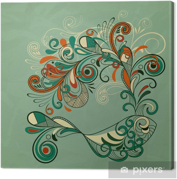 vector whale with floral fountain Canvas Print - Aquatic and Marine Life