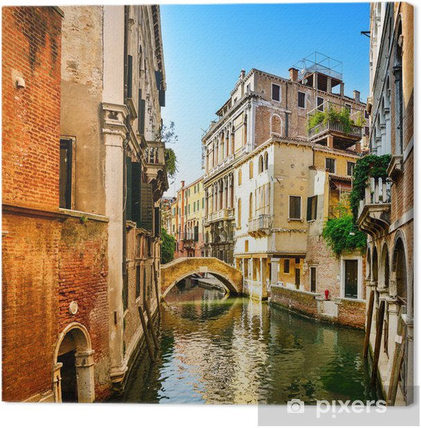 Venice cityscape, buildings, water canal and bridge. Italy Canvas Print -