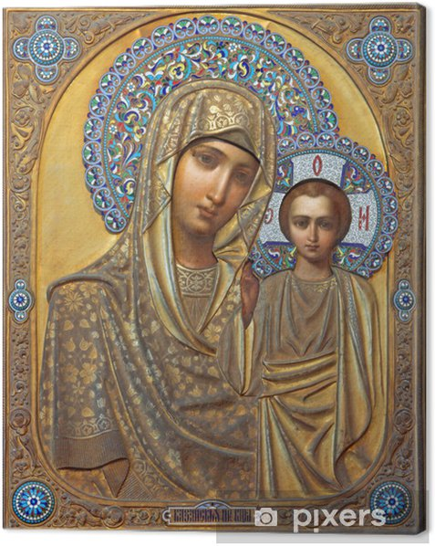 Venice - Icon of Madonna in Saint Martin on Burano church Canvas Print - Themes