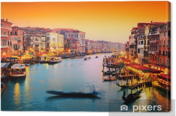 Venice, Italy. Gondola floats on Grand Canal at sunset Canvas Print - Themes