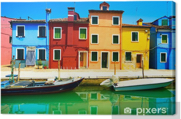 Venice landmark, Burano island canal, colorful houses and boats, Canvas Print - Themes