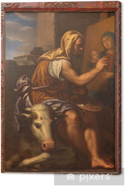 Venice - Paint of st. Luke in church Santa Maria della Salute. Canvas Print - European Cities