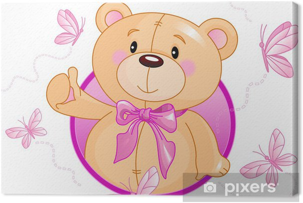 Very cute Teddy Bear waiving hello Canvas Print • Pixers ...