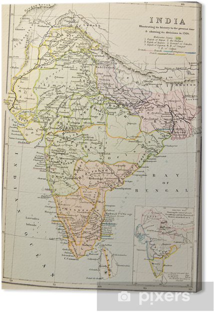 Very Old Map Of India Canvas Print Pixers We Live To Change