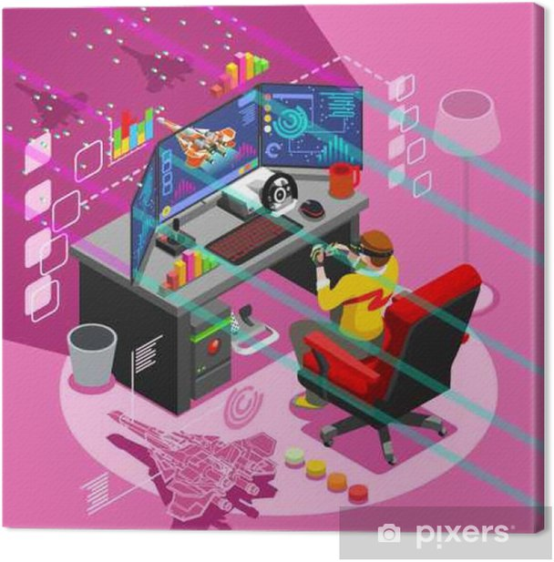 Video game screen and gamer person gaming online with console controller  android phone or computer  3D Isometric People icon set  Creative design
