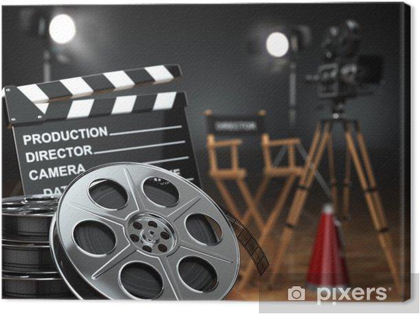 Video, movie, cinema concept. Retro camera, reels, clapperboard Canvas Print - Themes