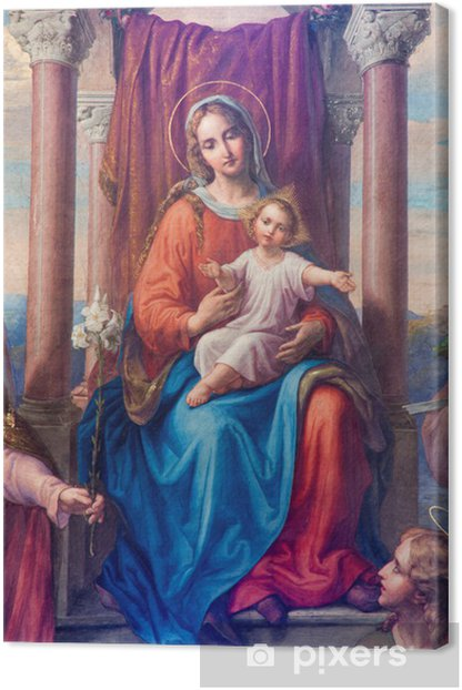 "Vienna - Detail of fresco ""Madonna of Vienna"" Canvas Print - Themes"
