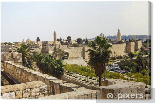 View from the walls of old Jerusalem, Israel Canvas Print - The Middle East