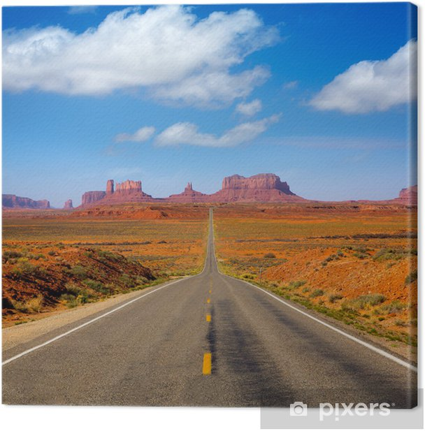 View from US 163 Scenic road to Monument Valley Utah Canvas Print - Themes
