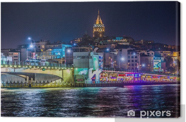 View of Istanbul and Galata tower and bridge at night Canvas Print - Themes