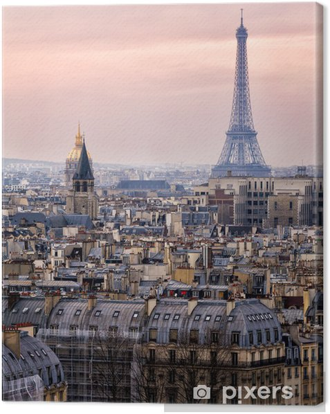 View of Paris and of the Eiffel Tower from Above Canvas Print - Themes