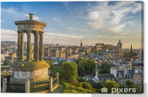 View of the castle from Calton Hill at sunset Canvas Print - Themes
