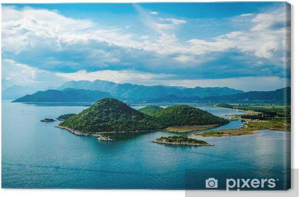 View of the sea, islands and clouds in southern Croatia Canvas Print - Themes