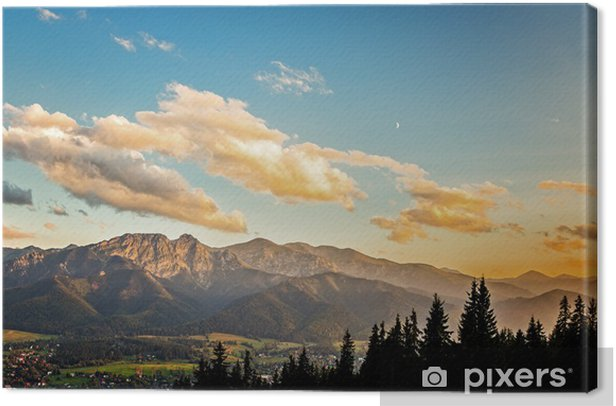 View on panorama of Tatras at sunset, Poland. Canvas Print - Themes