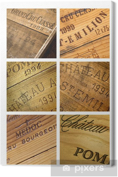 Vin, caisse, château, millésime, Bordeaux, chai, cave Canvas Print - Alcohol