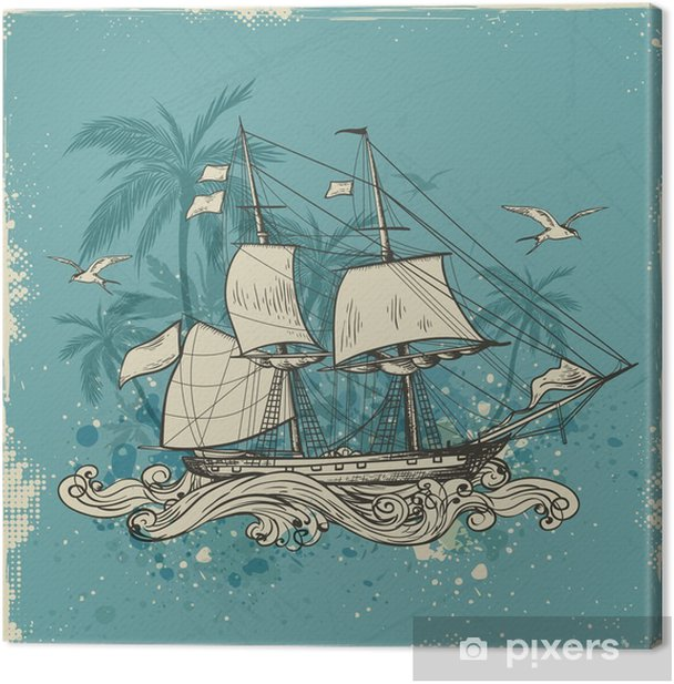Vintage background with sailing vessel Canvas Print - Transport