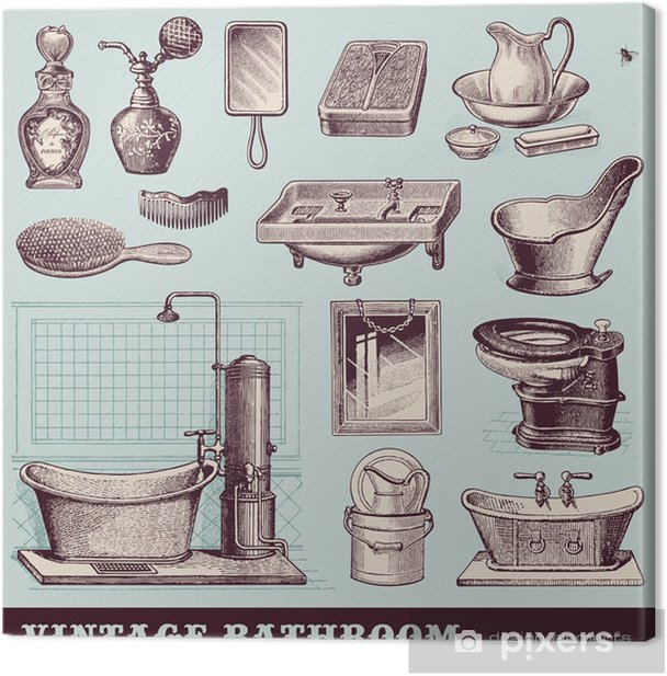 vintage bathroom - furniture and accessories Canvas Print - Lifestyle>Body Care and Beauty