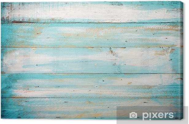 Vintage Beach Wood Background Old Blue Color Wooden Plank Canvas Print
