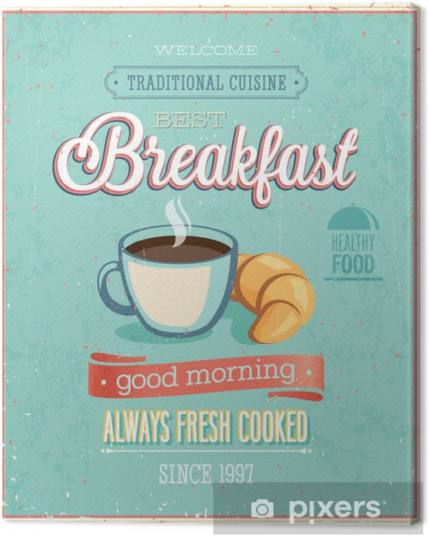 Vintage Breakfast Poster. Canvas Print - Styles