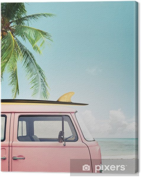 Vintage car parked on the tropical beach (seaside) with a surfboard on the roof Canvas Print - Hobbies and Leisure
