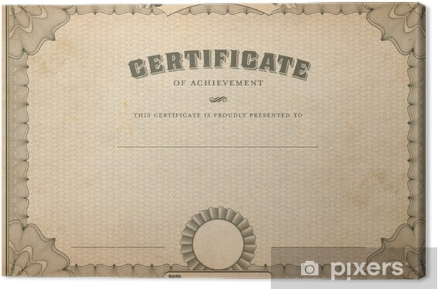 Vintage Certificate Template With Headline Canvas Print