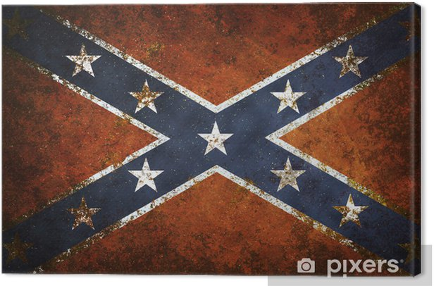 Vintage close-up of Confederate Flag Canvas Print - Themes