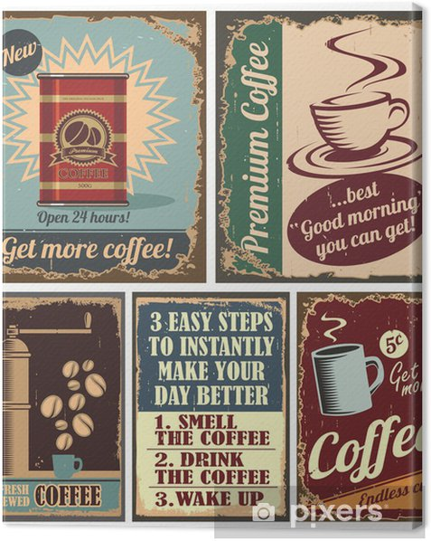 Vintage coffee posters and metal signs Canvas Print - Kitchen