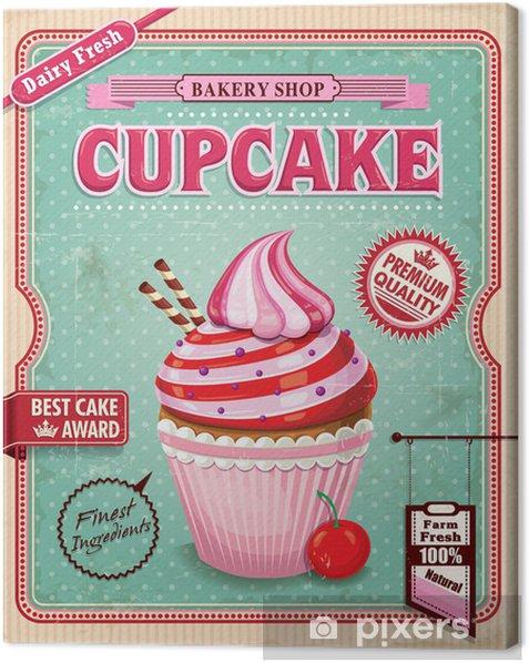 Vintage cupcake poster design Canvas Print - Meals