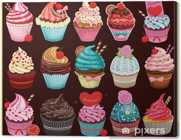 Vintage Cupcake poster set design Canvas Print - Meals