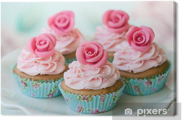 Vintage cupcakes Canvas Print - Sweets and muffins