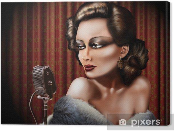 Vintage female singer Canvas Print - Entertainment