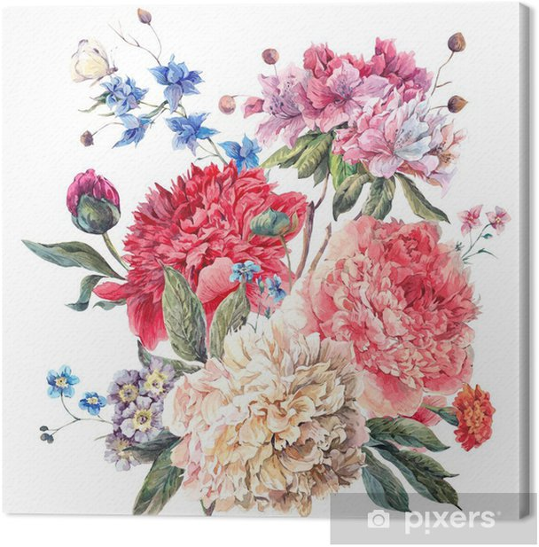 Vintage Floral Greeting Card with Blooming Peonies Canvas Print - iStaging