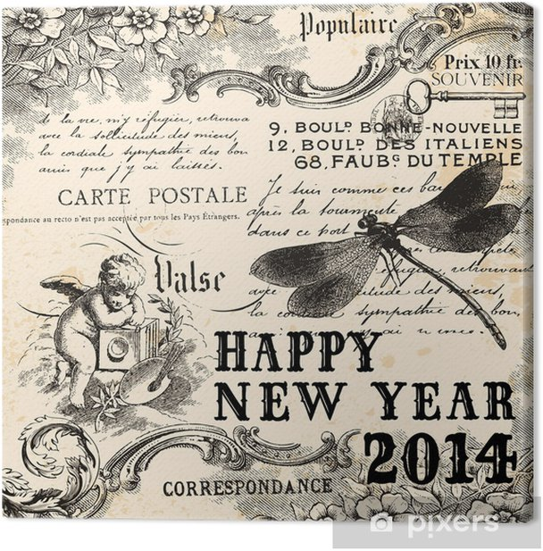 Exceptionnel Vintage Happy New Year 2014 Canvas Print
