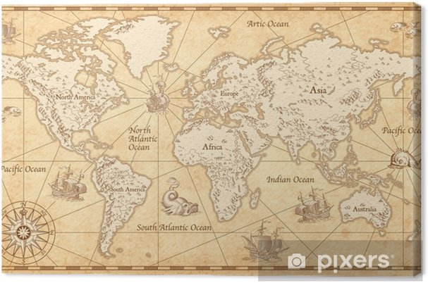 Vintage Illustrated World Map Canvas Print Pixers We Live To Change