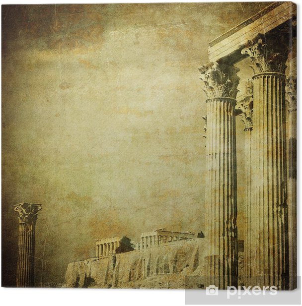 Vintage image of greek columns, Acropolis, Athens, Greece Canvas Print - iStaging
