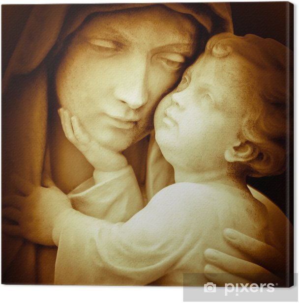 Vintage image of the virgin Mary carrying baby Jesus Canvas Print - Themes