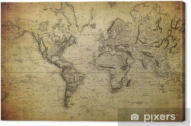 vintage map of the world 1814.. Canvas Print - Themes