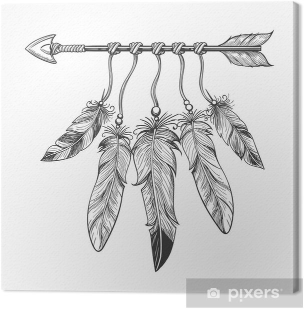 Vintage nativity hand drawn arrow with feathers. Tribal boho indian dreamcatche talisman isolated on white background. Vector illustration Canvas Print - Graphic Resources