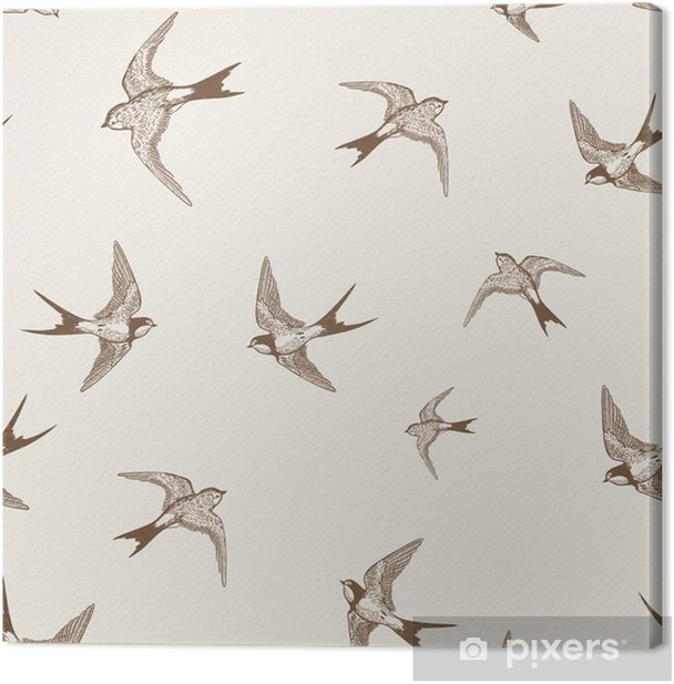 vintage pattern with white little swallows Canvas Print - Other Other