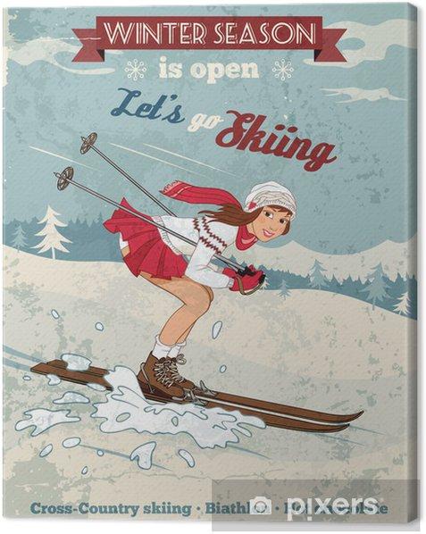 Vintage pin-up girl skiing poster Canvas Print - Individual Sports