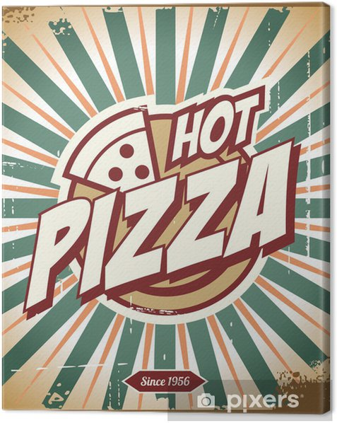 vintage pizza sign background template or pizza box design canvas