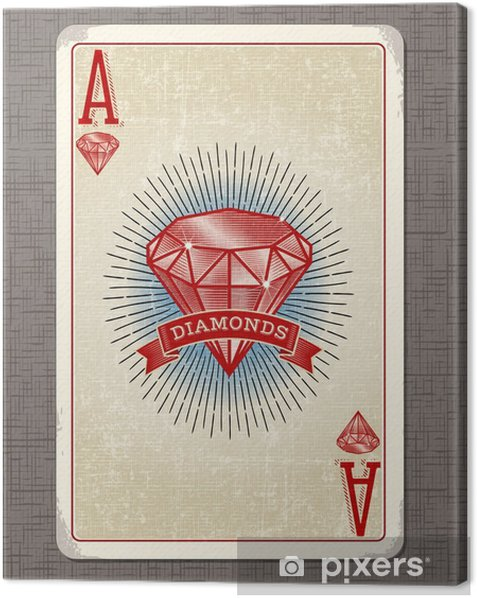 vintage playing card vector illustration of the ace of diamonds Canvas Print - Hobbies and Leisure