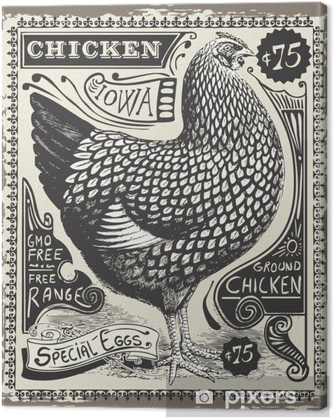 Vintage Poultry and Eggs Advertising Page Canvas Print - Sales