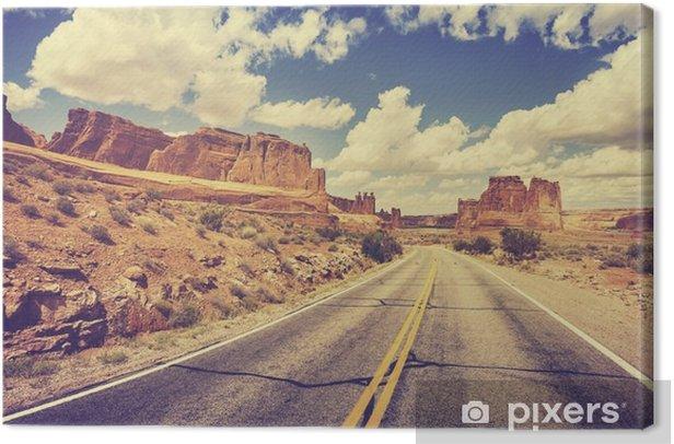 Vintage retro stylized scenic desert road, USA. Canvas Print - Travel