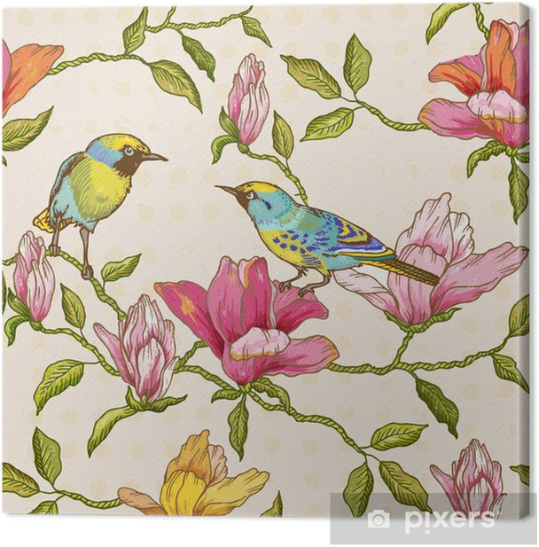 Vintage Seamless Background - Flowers and Birds Canvas Print - Seasons