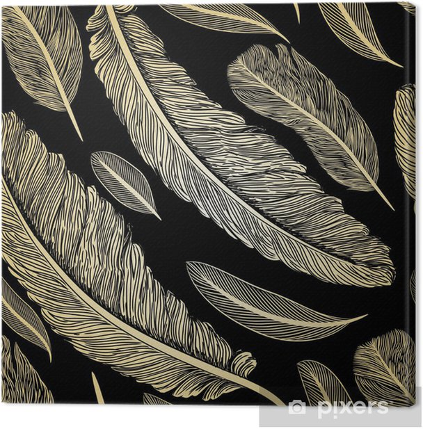 Vintage seamless pattern with hand-drawn feathers Canvas Print - Other Feelings