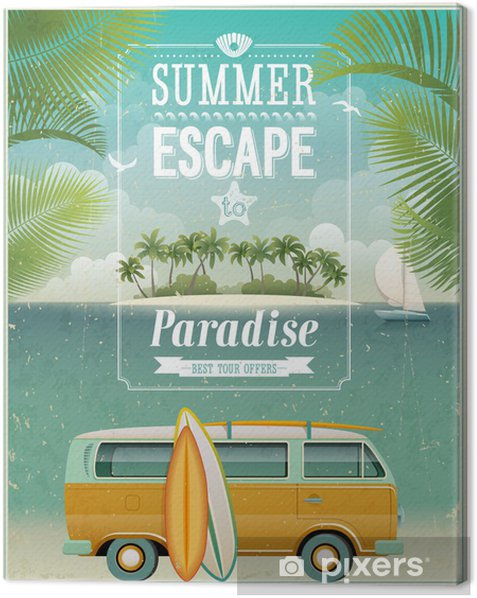Vintage seaside view poster with surfing van. Vector background. Canvas Print - Styles