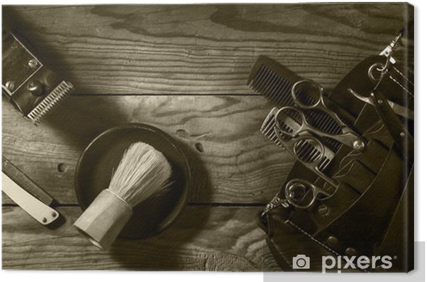 Vintage set of Barbershop.Toning sepia Canvas Print - Lifestyle