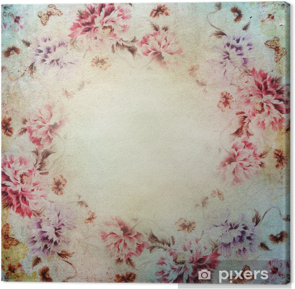 Vintage Shabby Chic Background With Roses Canvas Print