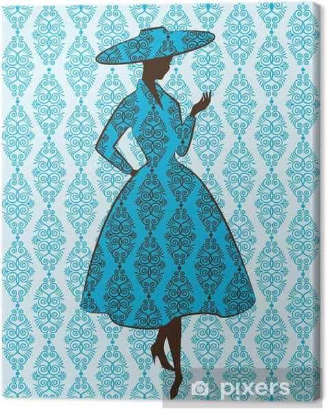 Vintage silhouette of girl on tapestry background. Canvas Print - Fashion